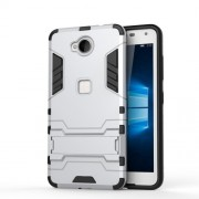 Solid PC + TPU Hybrid Case with Kickstand for Microsoft Lumia 650 / Dual - Silver