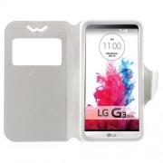 Universal Δερμάτινη Θήκη Βιβλίο Smart Cover με Βάση Στήριξης για LG G3 S και άλλα κινητά με μέγεθος 13,5 x 7cm - Λευκό