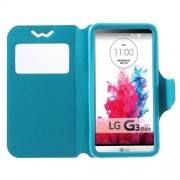 Universal Δερμάτινη Θήκη Βιβλίο Smart Cover με Βάση Στήριξης για LG G3 S και άλλα κινητά με μέγεθος 13,5 x 7cm - Μπλε