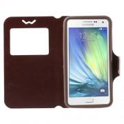 Universal Δερμάτινη Θήκη Βιβλίο Smart Cover με Βάση Στήριξης για Samsung Galaxy A7 και άλλα κινητά με μέγεθος 151 x 80 x 10mm - Καφέ
