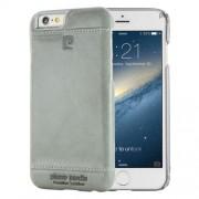PIERRE CARDIN Λεπτή Σκληρή Θήκη με Επένδυση Γνήσιου Δέρματος για iPhone 6s Plus / 6 Plus - Γκρι