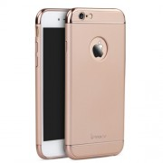 IPAKY Σκληρή Λεπτή Θήκη 3 σε 1 Electroplating για iPhone 6 Plus / 6S Plus - Ροζέ Χρυσαφί