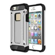 Tough Armor Υβριδική Θήκη Συνδυασμού Σιλικόνης TPU και Πλαστικού για iPhone SE / 5s / 5 - Ασημί