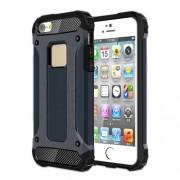 Dual Guard Plastic + TPU Hybrid Cover for iPhone SE/5s/5 - Dark Blue