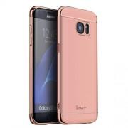 IPAKY Σκληρή Λεπτή Θήκη 3 σε 1 Electroplating για Samsung Galaxy S7 Edge G935 - Ροζέ Χρυσαφί