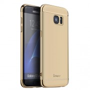 IPAKY Σκληρή Λεπτή Θήκη 3 σε 1 Electroplating για Samsung Galaxy S7 Edge G935 - Χρυσαφί