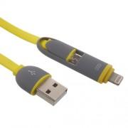 Πλατύ καλώδιο φόρτισης με δύο εξόδους micro USB και Lightning 8-pin για iphone και Smartphones με microUSB 1 μέτρο - Κίτρινο