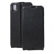Crazy Horse Vertical Flip Leather Cover for Alcatel OneTouch Idol 4 with Card Slot - Black