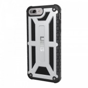 UAG MONARCH Σκληρή Θήκη σε Συνδυασμό με Σιλικόνη TPU και Γνήσιο Δέρμα για iPhone 8 / 7 / 6 / 6s - Ασημί της Πλατίνας/Μαύρο