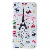 Wallet Leather Cover Case for Samsung Galaxy J3 (2016) - Eiffel Tower and Fruits
