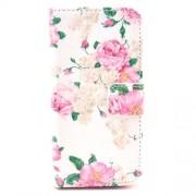 Δερμάτινη Θήκη Πορτοφόλι με Βάση Στήριξης για iPhone 5 5s SE -  Μπουκέτα από Ροζ Τριαντάφυλλα σε Λευκό Φόντο