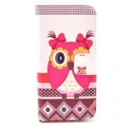 Δερμάτινη Θήκη Πορτοφόλι με Βάση Στήριξης για iPhone 5 5s SE -  Χαριτωμένη Κουκουβάγια