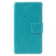 Crazy Horse Magnetic Leather Card Holder Case for LG K4 - Blue