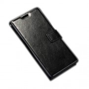 Crazy Horse Leather Wallet Stand Flip Case for Sony Xperia E5 - Black
