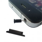 2 in 1 For iPhone 4G Anti Dust Plug Stopper Set (Dock Stopper and Earphone Plug),Black