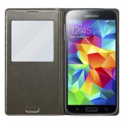 Grey Window View Smart Leather Flip Battery Cover Housing for Samsung Galaxy S5 G900
