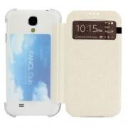 Δερμάτινη Θήκη Βιβλίο Smart Cover με Διάφανη Πλάτη και Θέση για Κάρτα για Samsung Galaxy S4 I9505 I9502 I9500 - Λευκό