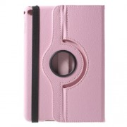 360-degree Rotating Stand Lychee Leather Case for iPad mini 4 - Pink