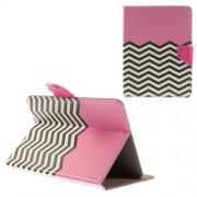 Δερμάτινη Θήκη Βιβλίο με Βάση Στήριξης για iPad mini 3 / Samsung Galaxy Tab T310 T330 (21,5 x 14cm) και Άλλα Tablets με Αυτές τις Διαστάσεις - Ροζ με Μαυρόασπρες Ρίγες Ζιγκ-Ζακ
