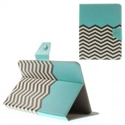 Blue Chevron Stripes Universal Leather Shell Stand for iPad mini 2 3 / Samsung Galaxy Tab T310 T330 Etc. Size: 21.5 x 14cm