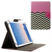 Δερμάτινη Θήκη Βιβλίο με Βάση Στήριξης για Samsung Galaxy Tab 4 7.0 Τ230 / Amazon Fire HD 7 (20,3 x 14cm) και Άλλα Tablets με Αυτές τις Διαστάσεις - Ροζ με Μαυρόασπρες Ρίγες Ζιγκ-Ζακ