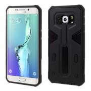 Υβριδική Θήκη Συνδυασμού Σιλικόνης TPU με Πλαστικό για Samsung Galaxy S6 Edge Plus G928 - Μαύρο