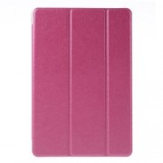 Silk Texture Tri-Fold Smart Leather Case for iPad mini 4 with Stand - Rose