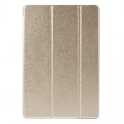 For iPad mini 4 Tri-Fold Stand Smart Leather Case Silk Texture - Champagne