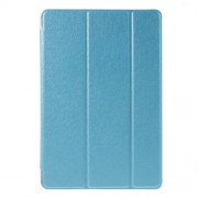 Silk Texture Tri-Fold Smart Leather Shell for iPad mini 4 with Stand - Blue