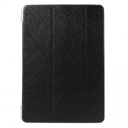 Silk Texture Leather Case for Samsung Galaxy Tab A 9.7 T550 T555 with Tri-fold Stand - Black