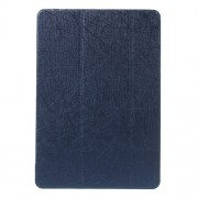 Tri-fold Stand Silk Leather Flip Shell for Samsung Galaxy Tab A 9.7 T550 T555 - Deep Blue
