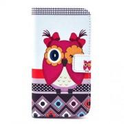 Δερμάτινη Θήκη Πορτοφόλι με Βάση Στήριξης για Samsung Galaxy S4 I9500 I9505 - Αξιολάτρευτη Κουκουβάγια