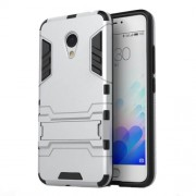 PC TPU Hybrid Case for Meizu m3 with Kickstand - Silver