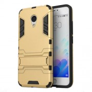 PC TPU Combo Shell for Meizu m3 with Kickstand - Gold
