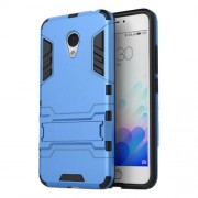 PC TPU Hybrid Cover for Meizu M3 Note/Blue Charm Note3 with Kickstand - Light Blue