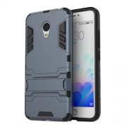 PC TPU Combo Cover for Meizu M3 Note/Blue Charm Note3 with Kickstand - Dark Blue