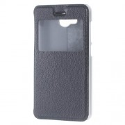 View Window Leather Stand Protective Case for Huawei Y3II / Y3 II - Black