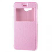 View Window Leather Flip Stand Protective Case for Huawei Y3II / Y3 II - Pink