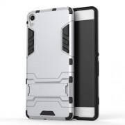 Υβριδική Θήκη Συνδυασμού Σιλικόνης TPU και Πλαστικού με Βάση Στήριξης για Sony Xperia XA / XA dual - Ασημί