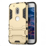 PC TPU Hybrid Phone Case for Motorola Moto G4 Play with Kickstand - Gold