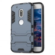PC TPU Hybrid Back Cover for Motorola Moto G4 Play with Kickstand - Dark Blue
