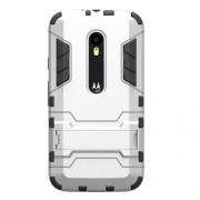 Kickstand Plastic + TPU Hybrid Case for Motorola Moto G 3rd Gen XT1541 XT1543 - Silver