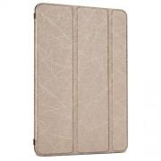 Δερμάτινη Θήκη Βιβλίο Tri-fold με Βάση Στήριξης και Όψη Παλιού Δέρματος για iPad Mini 3 / 2 / 1 - Χρυσαφί
