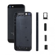 Plated Matte Metal For iPhone 5 Full Housing Faceplates w/ Side Buttons and SIM Card Tray - Black / Slate