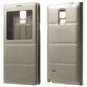 Δερμάτινη Θήκη Βιβλίο Smart Cover με Ενσωματωμένο Καπάκι Μπαταρίας για Samsung Galaxy Note 4 N910 - Σαμπανιζέ