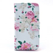 Pretty Flowers White Background Wallet Leather Skin Case for Samsung Galaxy S4 mini i9190