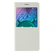 View Window Leather Flip Battery Housing Cover for Samsung Galaxy J5 SM-J500F - White