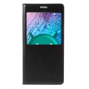 View Window Leather Battery Housing Case for Samsung Galaxy J5 SM-J500F - Black