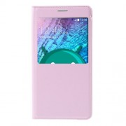 View Window Leather Flip Battery Housing Cover for Samsung Galaxy J5 SM-J500F - Pink
