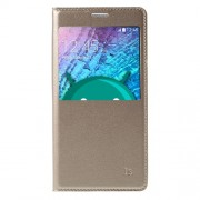 View Window Leather Flip Battery Housing Cover for Samsung Galaxy J5 SM-J500F - Champagne